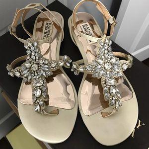 Badgley Mischka satan embellished sandals